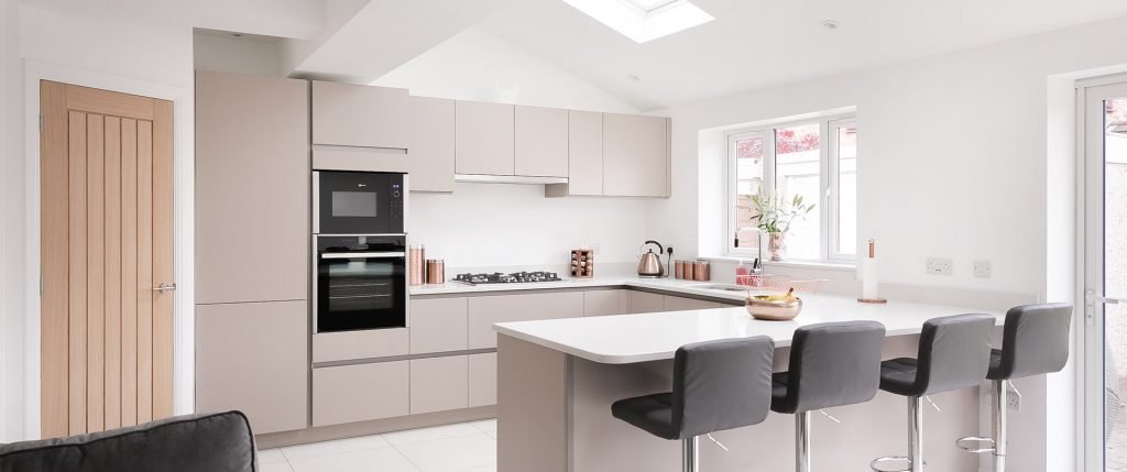 Matt Stone Grey Modern Kitchen with Quartz Worktop – Irlam