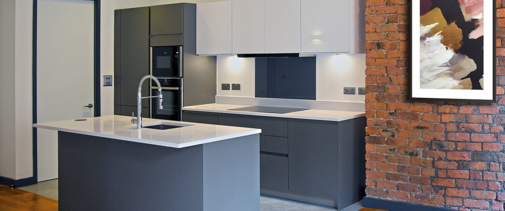 Matt Grey Industrial Kitchen with Quartz Worktops – Ancoats
