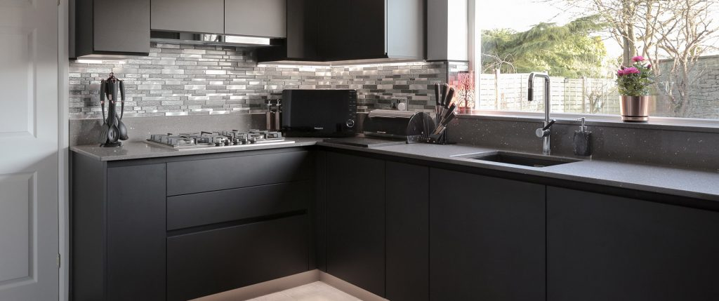 Matt Black Handless Kitchen with Quartz worktops