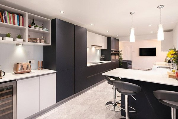 Image of a stylish black and white modern kitchen design featuring open shelving units