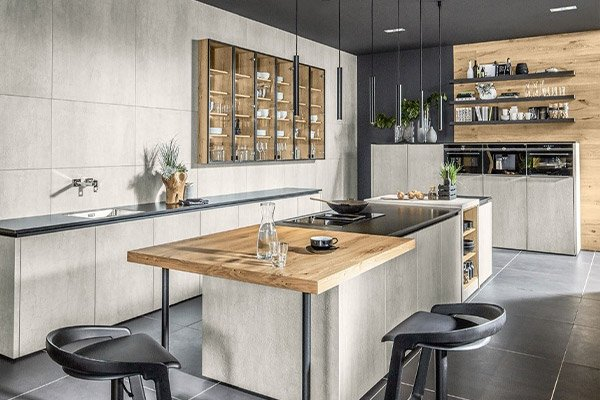 Image of a stylish yet minimalistic kitchen design featuring a variety of natural materials