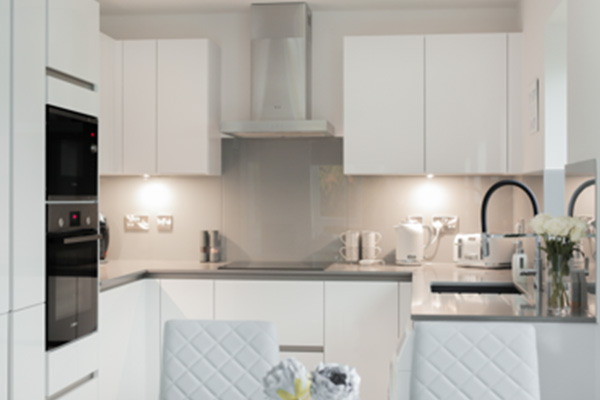 Image of Pronorm's X-Line kitchen range with white walls, grey splashbacks and a Silestone gris worktop, perfect for a smaller kitchen size.)