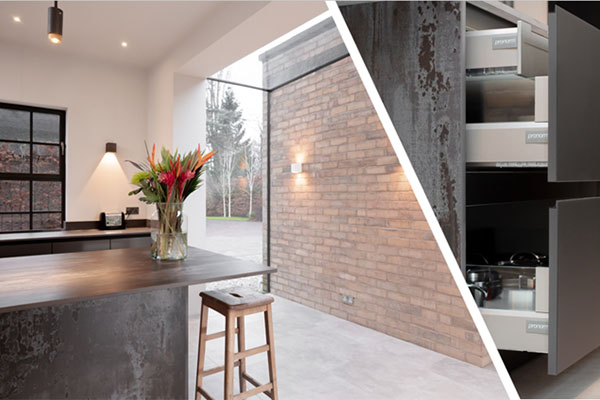 Two images showcasing the Alba Oak kitchen units and handleless kitchen drawers.