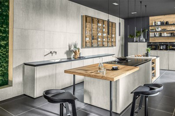 Image of a nature-inspired kitchen design featuring natural stone and wood elements.